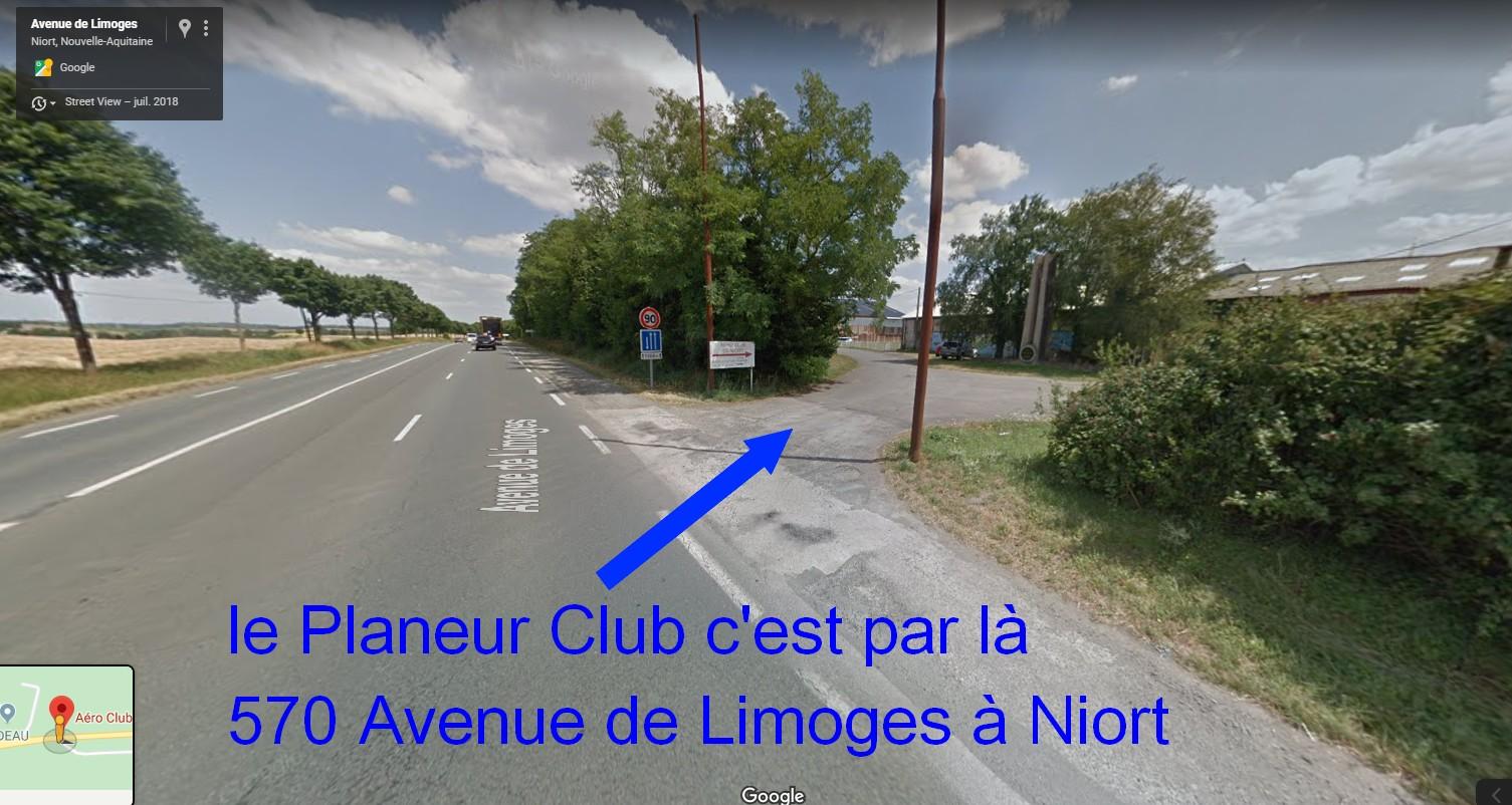 Accès au Planeur Club en venant de Niort